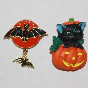 Two Halloween Brooch Pins Bat Pumpkin